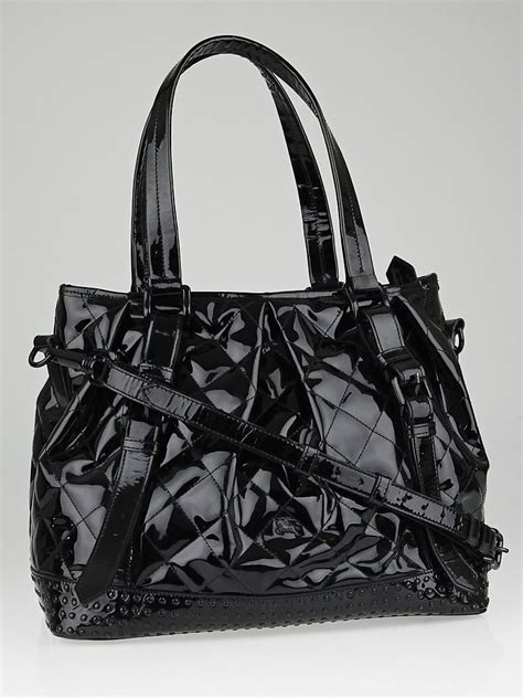 quilted tote bags burberry black quilted patent leather large tote bag