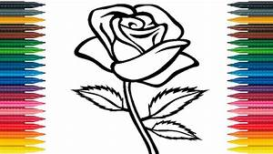 How to Draw Rose for Kids Draw Rose Flower Coloring Page ...