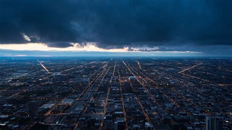 night city, top view, buildings, clouds 4k top view, night ...