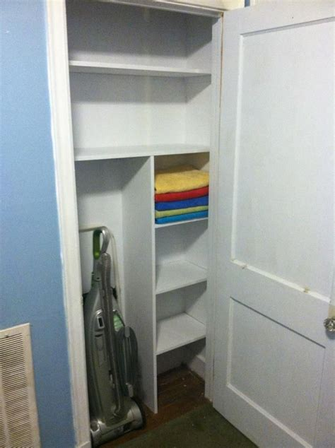 Small Hallway Closet Organization Ideas by My New Shallow Closet Holds Vacuum And Towels So Far