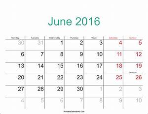 June 2016 Calendar Printable with Holidays PDF and JPG