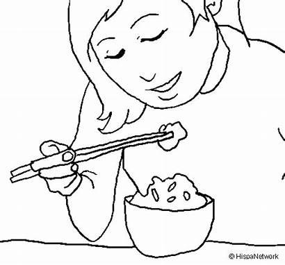 Rice Eating Coloring Sara Colored Coloringcrew