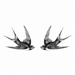 Two swallows Vintage temporary tattoo Pattern Tattoo ...