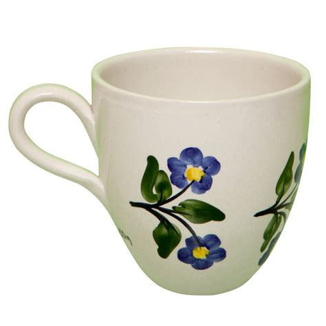 floral coffee mugs pottery coffee mugs signed by artisan painted toile 1019