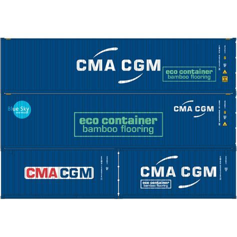 HO RTR 20' & 40' Containers, CMA CGM (ATH27876): Athearn