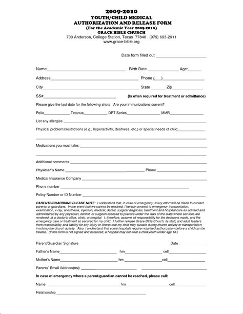 18579 release form for child printable release form for children invoice