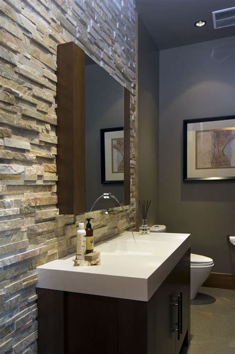 cozy bathroom designs  stone walls