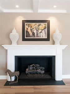 black, and, white, fireplace, in, neutral, transitionalliving, room