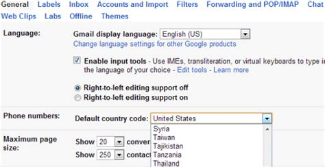 go country phone number change the default country code in gmail