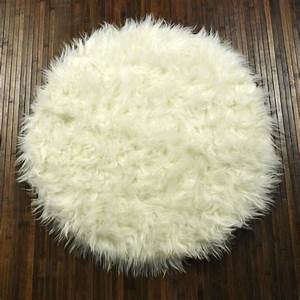 tapis shaggy floky rond blanc achat vente tapis With tapis shaggy rond