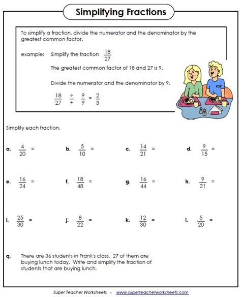simplifying fractions worksheet apps reading