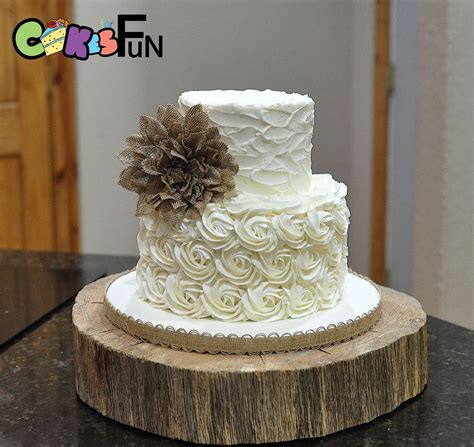 Rustic Buttercream Wedding Cake 2 Tiers With Burlap