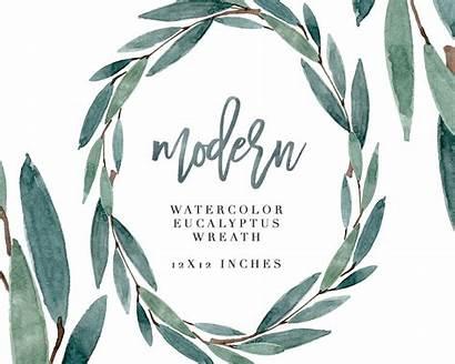 Eucalyptus Wreath Watercolor Clipart Modern Leaf Leaves