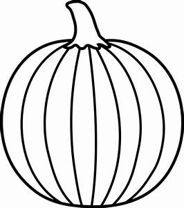 Black and White Pumpkin Lineart - Free Clip Art