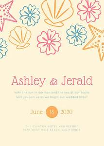 customize 104 beach wedding invitation templates online With free printable beach wedding invitations templates downloads