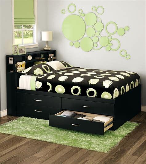 black full storage  drawer platform bed frame