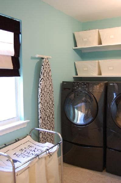 tiffany blue paint color transitional laundry room