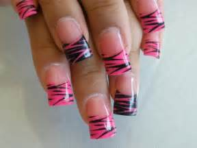 Pink and black zebra nails trendy mods