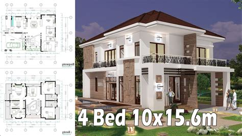 4 Bedroom Home Plan Full Exterior And Interior 10x156m