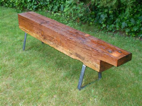 Benches : Vintage Wood Benches With Steel Bench Legs