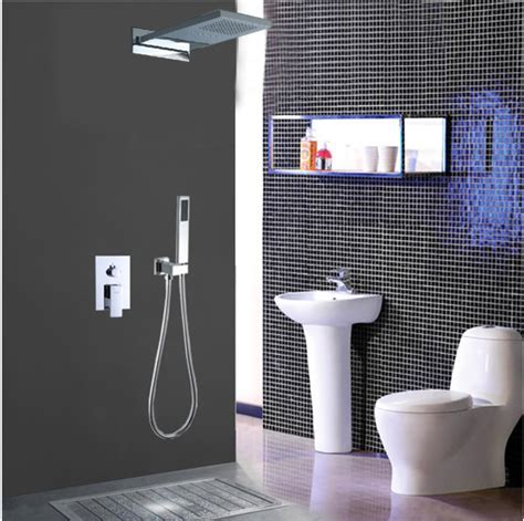 Chrome Wall Mount Rain Single Handle Luxury Shower Tap