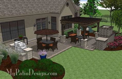 Simple Patio Design With Pergola, Fireplace And Grill