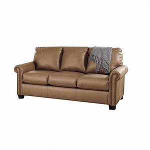 Ashley Lottie Leather Full Sleeper Sofa In Almond 3800236