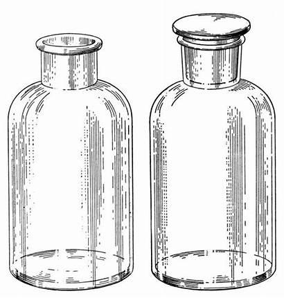 Bottles Chemistry Bottle Medicine Fashioned Illustration Illustrations