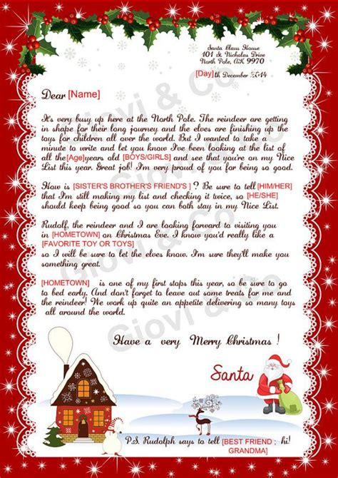 printable reply letter  santa kids christmas printable