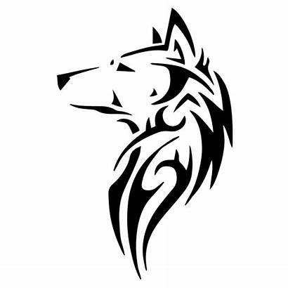 Wolf Tribal Silhouette Decal Vector Drawing Head