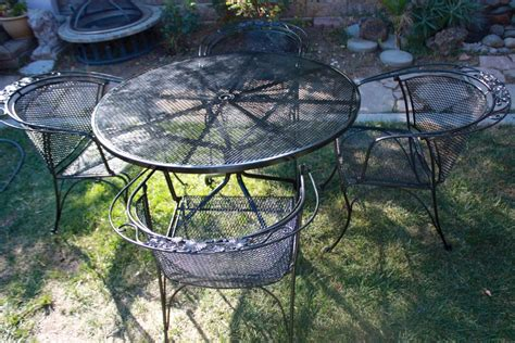 vintage woodard wrought iron salterini patio set table 4 armchairs 48 diameter outdoor