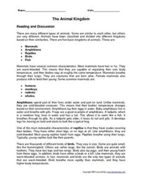 the animal kingdom worksheet for 4th 6th grade lesson