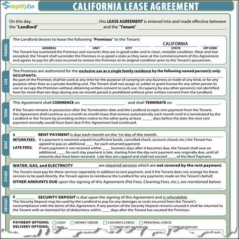 California Lease california lease agreement