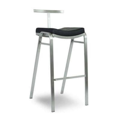 chaise de bar haute fixe design 224 dossier en inox et assise en simili cuir noir mobilier de