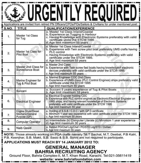 Tug Boat Mechanic Jobs by Bahria Foundation Jobs Opportunity In Karachi Dawn On 12