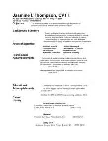 resume for phlebotomy phlebotomy resume