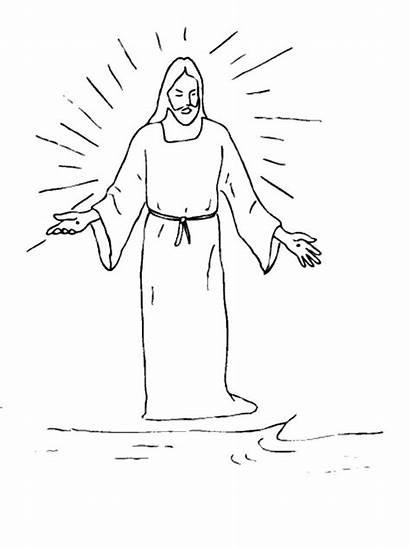 Jesus Drawing Easy Dead Coloring Rises Drawings