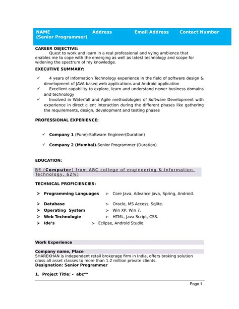 Resume Of Fresher by 32 Resume Templates For Freshers Free Word Format
