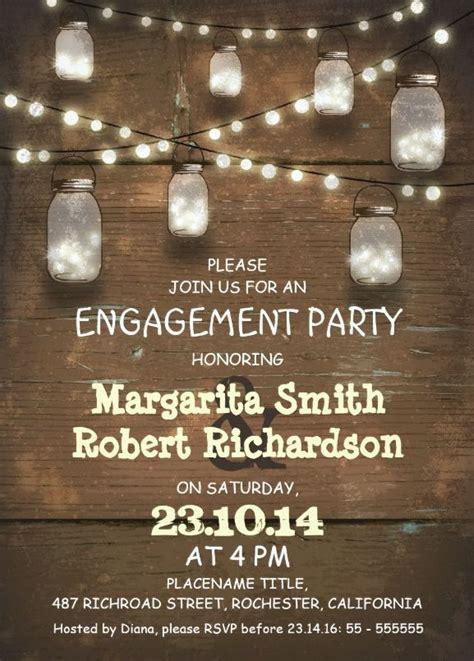 wood engagement invitation card rustic mason jars