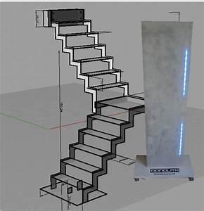 Kit Led Escalier : marche led monolith escalier led escalier lumineux marche en beton escalier en beton ~ Melissatoandfro.com Idées de Décoration