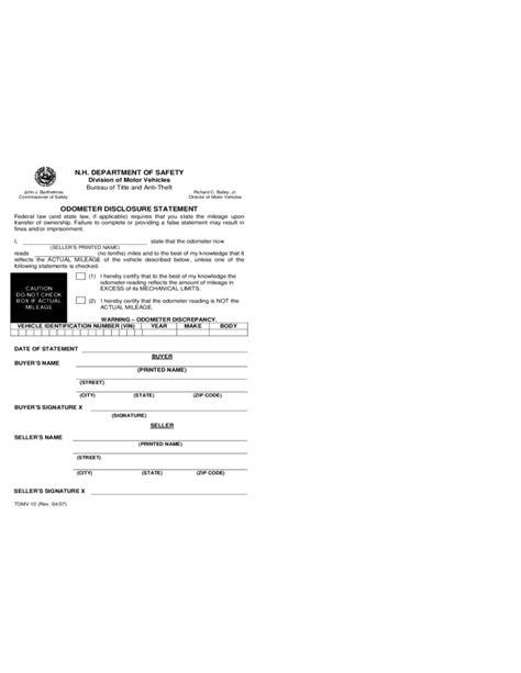 vehicle bill  sale form  hampshire