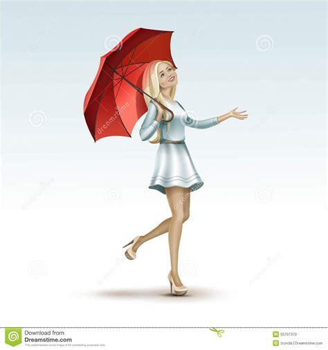 blonde woman girl   red umbrella  dress stock