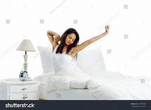 Yawn Stretch Sleepy Latino Woman In Bed Waking Up To The ...