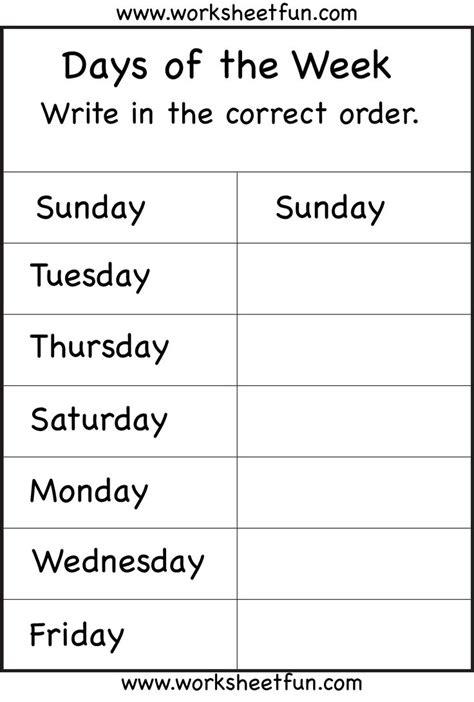 days   week worksheet printable worksheets