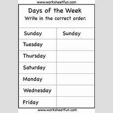 Days Of The Week Worksheet  Printable Worksheets  Kindergarten Worksheets, School Worksheets