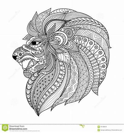 Coloring Lion Adult Tattoo Graphic Zentangle Detailed
