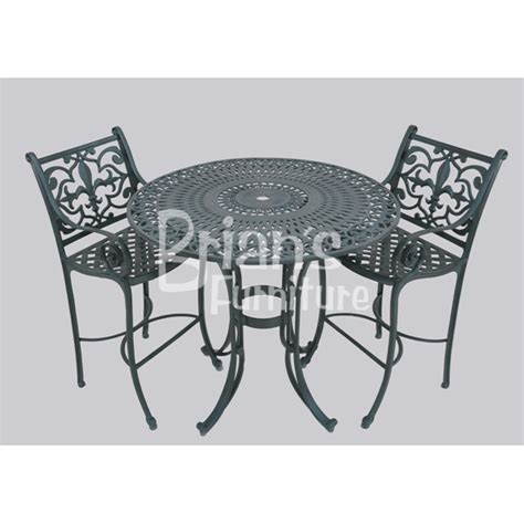 3 pc fleur de lis pub set outdoor furniture cast aluminum