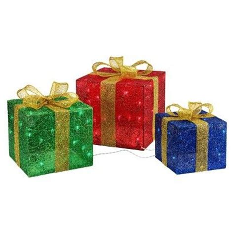 set of 3 lit gift boxes set of 3 lighted gift boxes 13 quot x 13 quot for largest 32 00 set of 3 at target yard