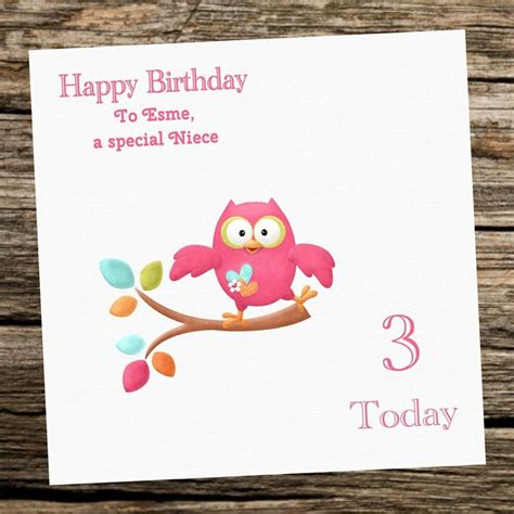 handmade personalised owl girl birthday card st