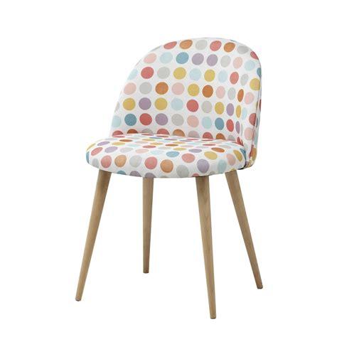 chaise de bureau antique chaise vintage en tissu pois multicolores mauricette